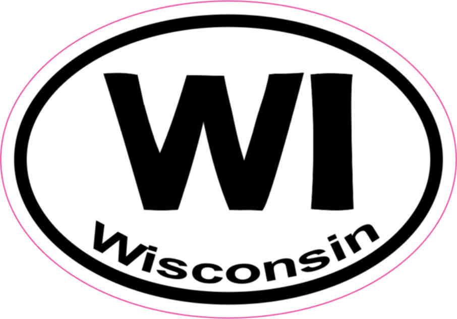 3in x 2in Oval WY Wyoming Sticker Vinyl Car Window State