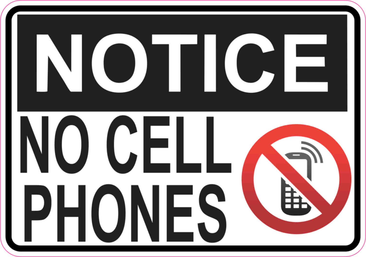 5in x 3 5in Symbol Notice No Cell Phones Sticker Vinyl Signs Business Sign