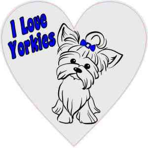 Blue/Gray I Love Yorkies Heart Sticker