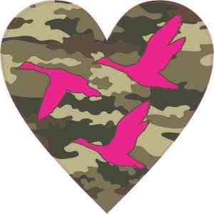 Camo Duck Heart Sticker