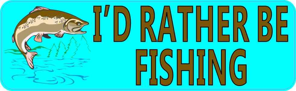Teal I'd Rather Be Fishing Bumper Sticker