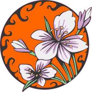 Orange Circle Purple Flower Sticker