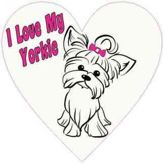 Pink I Love My Yorkie Heart Sticker