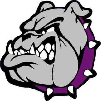 Purple Collared Bulldog Mascot Sticker