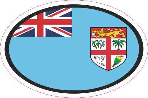 3in X 2in Oval Fiji Flag Sticker Vinyl Vehicle Decal Flags Cup Stickers