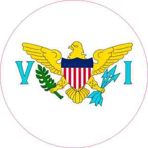 Round US Virgin Islands Flag Sticker