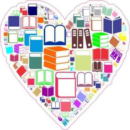 Colorful Book Heart Sticker