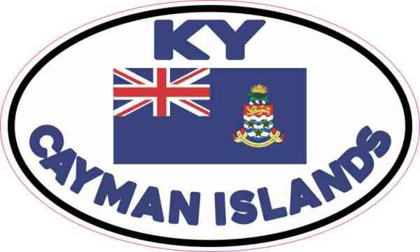 Oval KY Cayman Islands Flag Sticker