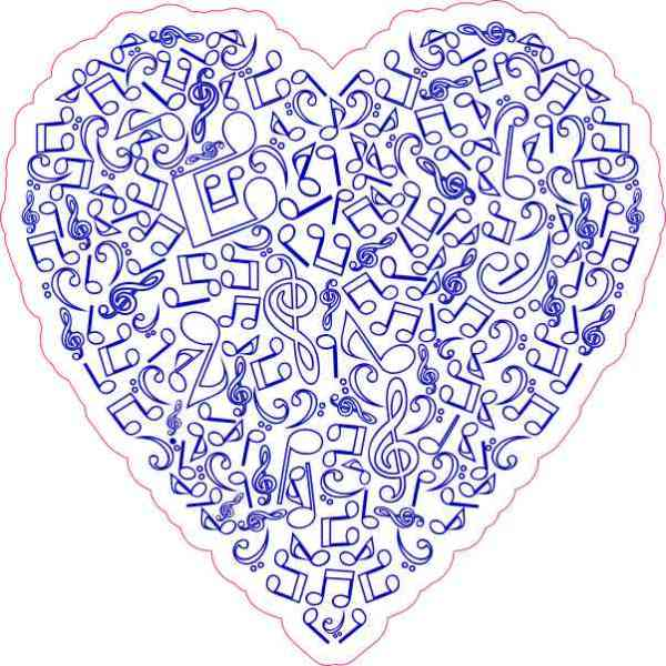 Blue Music Heart Sticker