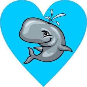 Whale Heart Sticker
