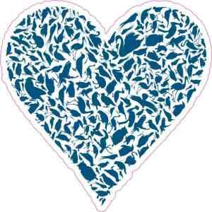 Blue Bird Heart Sticker