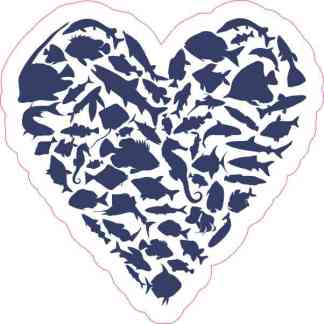 Blue Fish Heart Sticker