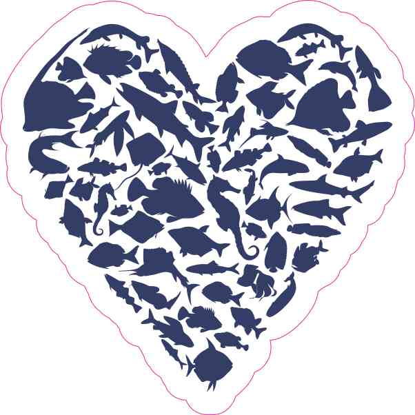 Blue Fish Heart Sticker