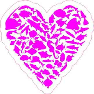 Magenta Fish Heart Sticker