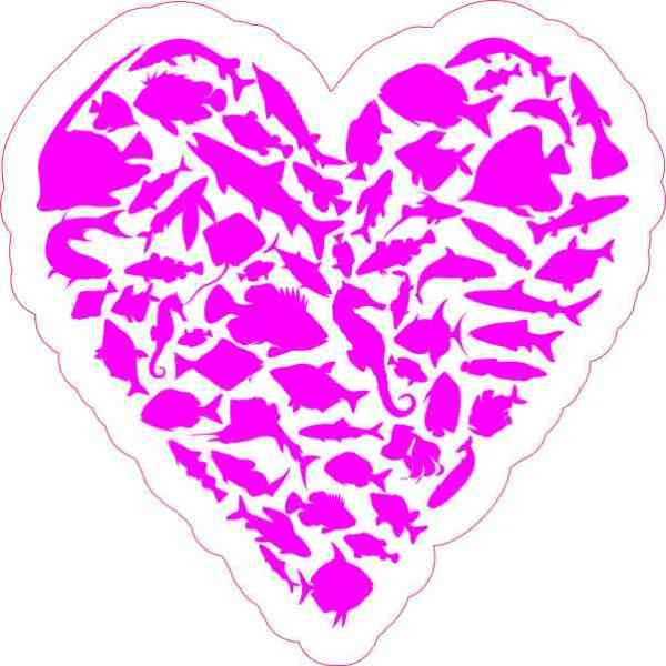Magenta Fish Heart Sticker