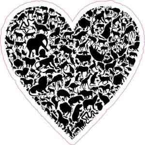 Black Animal Heart Sticker