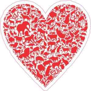 Red Animal Heart Sticker