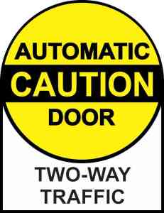 Two-Way Traffic Caution Automatic Door Sticker