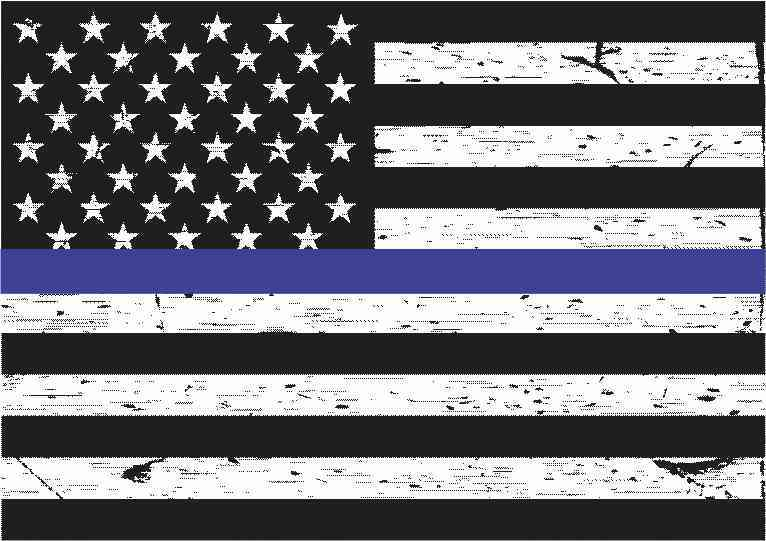 5in X 3 5in Black And White American Flag Blue Lives