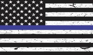 Black and White American Flag Blue Lives Matter Sticker