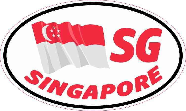 Oval sg singapore flag sticker