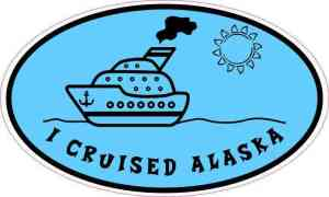 Blue Oval I Cruised Alaska Sticker