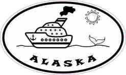 Oval Cruise Ship Alaska Sticker