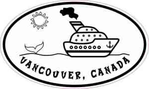 Oval Cruise Ship Vancouver Canada Sticker