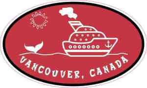 Red Oval Cruise Ship Vancouver Canada Sticker