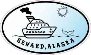 Blue Oval Cruise Ship Seward Alaska Sticker