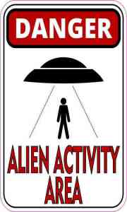 Black and Red Danger Alien Activity Area Magnet
