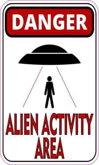 Black and Red Danger Alien Activity Area Magnet