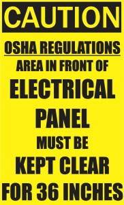 Area in Front of Electrical Panel Must be Kept Clear Magnet