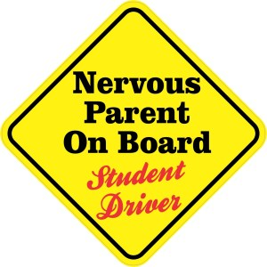 Nervous Parent On Board Student Driver Sticker