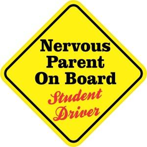 Nervous Parent On Board Student Driver Sticker