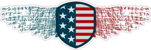 Winged American Flag Shield Sticker