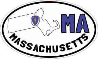 Oval MA Massachusetts Sticker