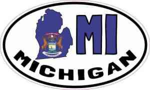 Oval MI Michigan Sticker