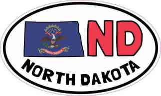 Oval ND North Dakota Sticker