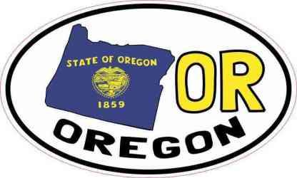 Oval OR Oregon Sticker