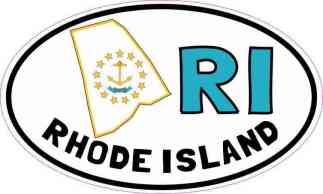Oval RI Rhode Island Sticker