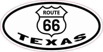 Oval Route 66 Texas Sticker