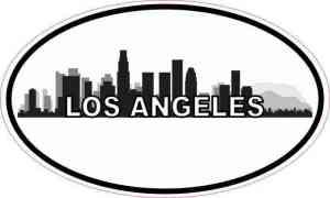 Oval Los Angeles Skyline Sticker