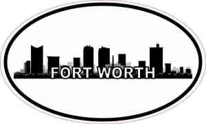 Oval Forth Worth Skyline Sticker