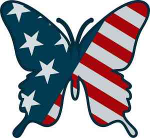 American Flag Butterfly Sticker