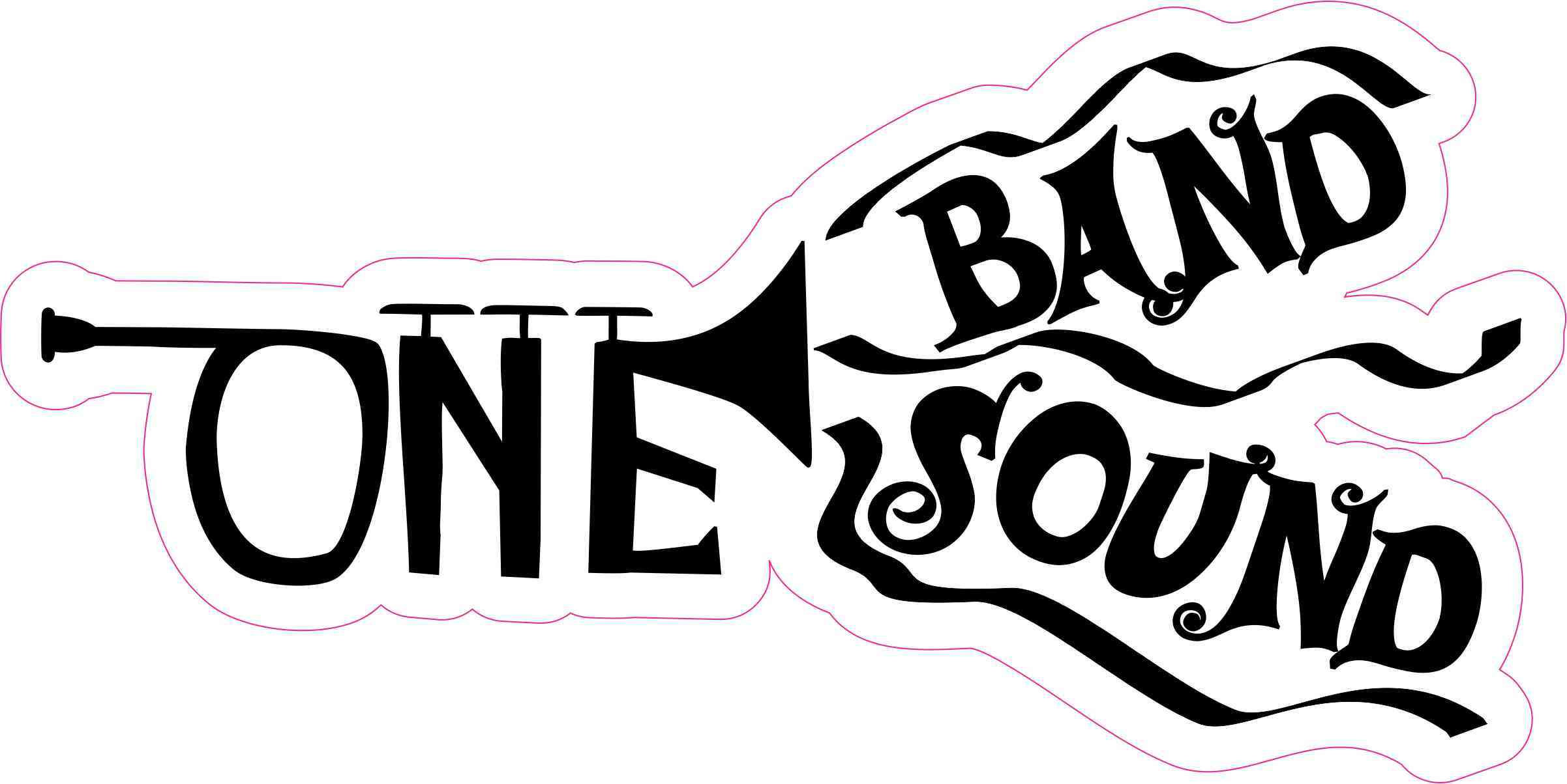 8in x 4in trumpet one band one sound sticker