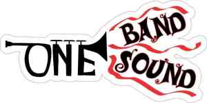 Red Trumpet One Band One Sound Sticker