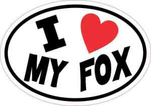 Oval I Love My Fox Sticker