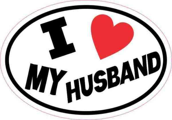 Oval I Love My Husband Sticker