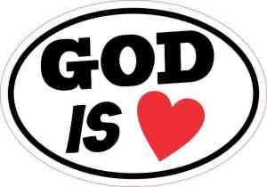 Oval God Is Love Sticker